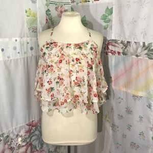 Shun Xin New Fashion Floral Crop Tank Top